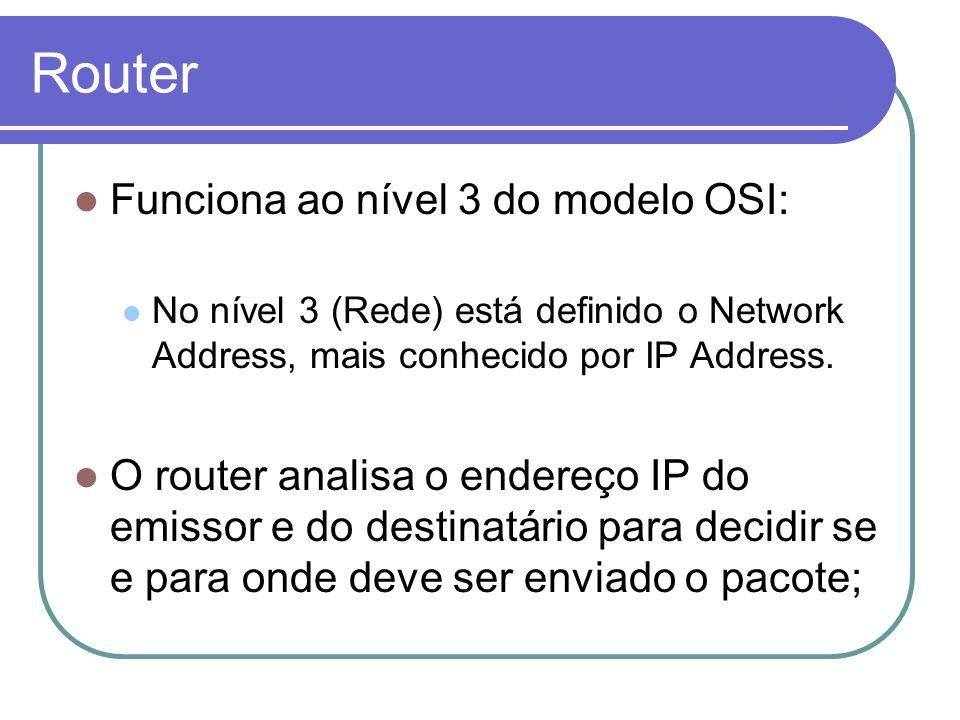 Router Funciona ao nível 3 do modelo OSI: