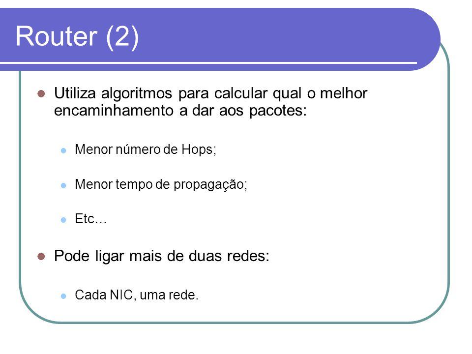Router (2) Utiliza algoritmos para calcular qual o melhor encaminhamento a dar aos pacotes: Menor número de Hops;