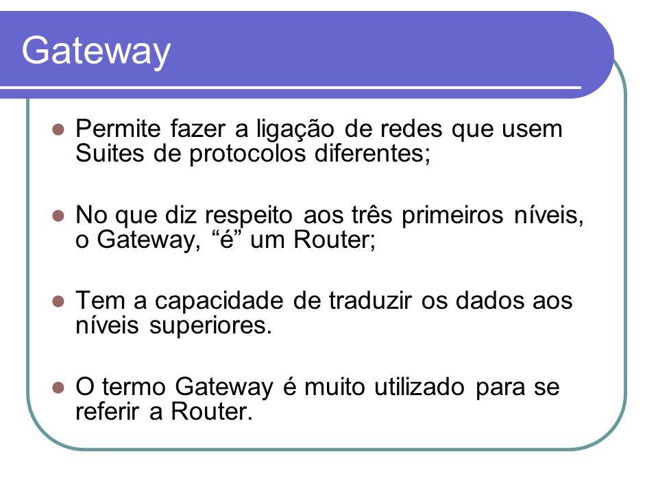 Gateway Permite fazer a ligação de redes que usem Suites de protocolos diferentes;