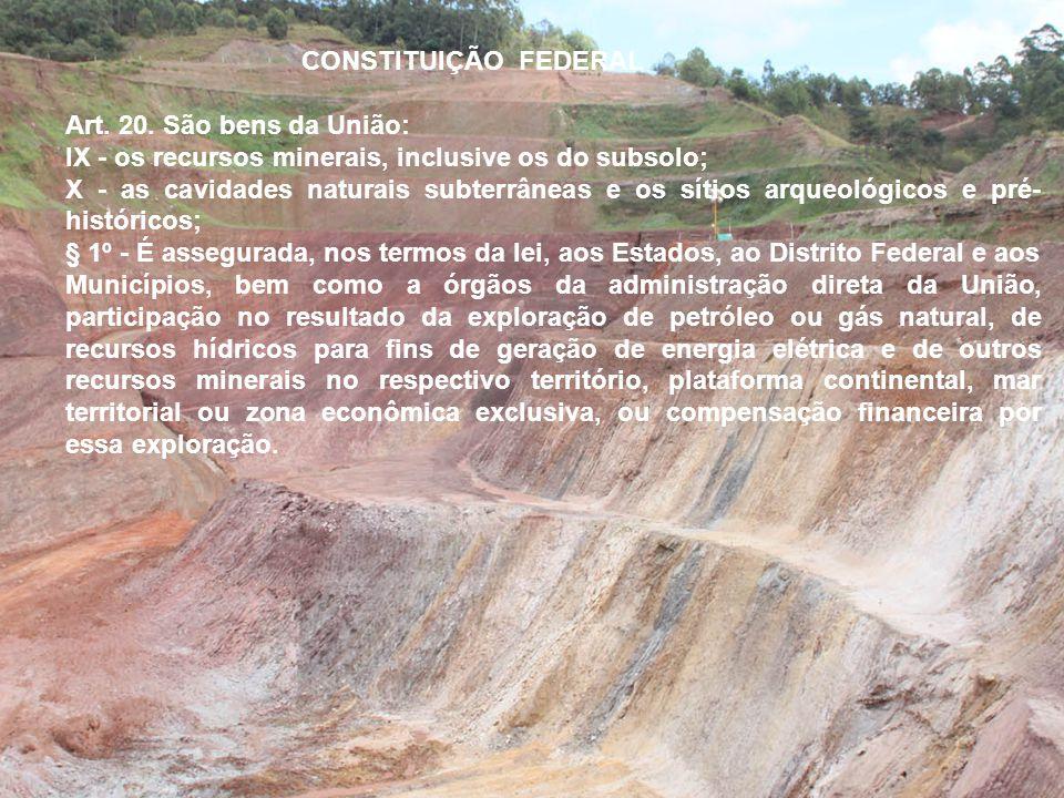 CONSTITUIÇÃO FEDERAL Art. 20. São bens da União: IX - os recursos minerais, inclusive os do subsolo;
