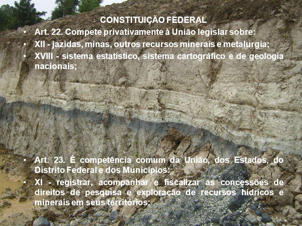 CONSTITUIÇÃO FEDERAL Art. 22. Compete privativamente à União legislar sobre: XII - jazidas, minas, outros recursos minerais e metalurgia;