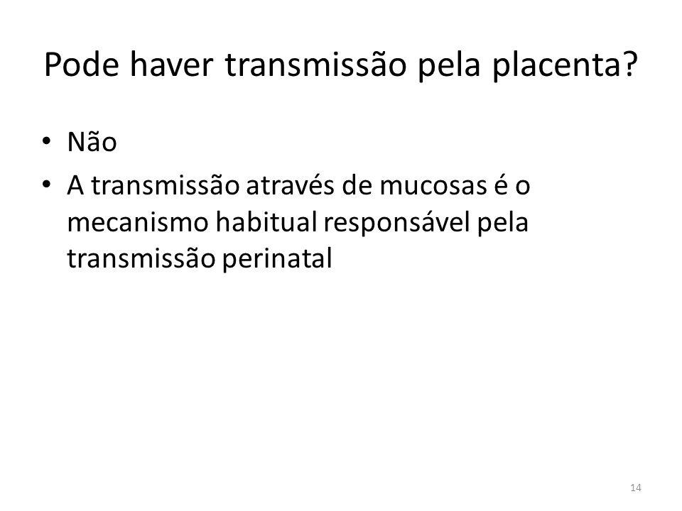 Pode haver transmissão pela placenta