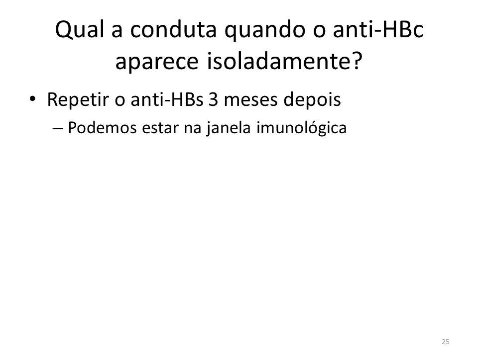 Qual a conduta quando o anti-HBc aparece isoladamente
