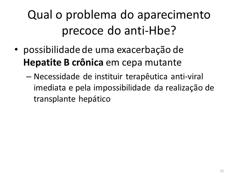 Qual o problema do aparecimento precoce do anti-Hbe