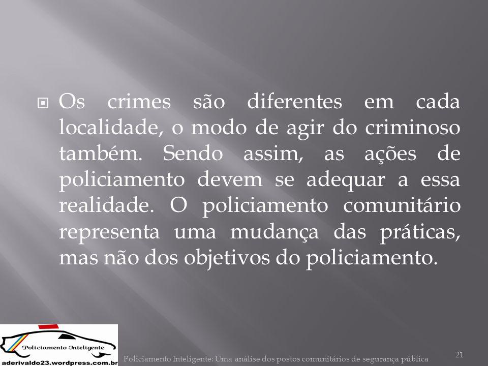 Os crimes são diferentes em cada localidade, o modo de agir do criminoso também. Sendo assim, as ações de policiamento devem se adequar a essa realidade. O policiamento comunitário representa uma mudança das práticas, mas não dos objetivos do policiamento.