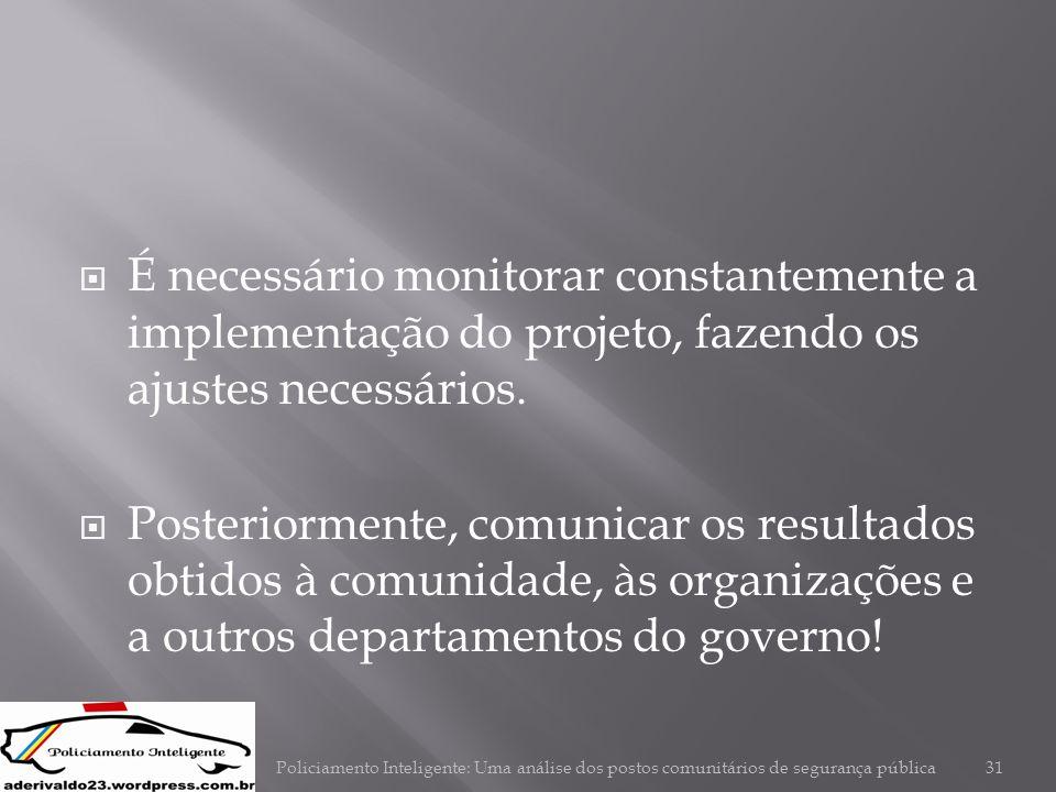 É necessário monitorar constantemente a implementação do projeto, fazendo os ajustes necessários.