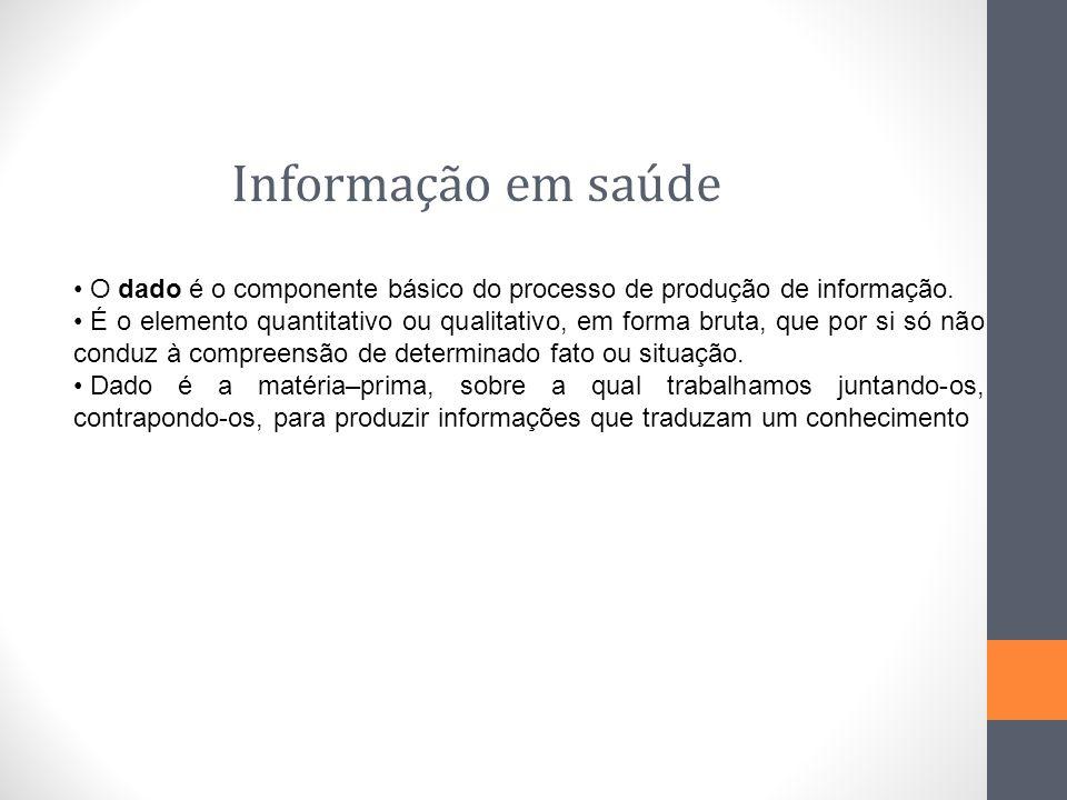 Informação em saúde O dado é o componente básico do processo de produção de informação.