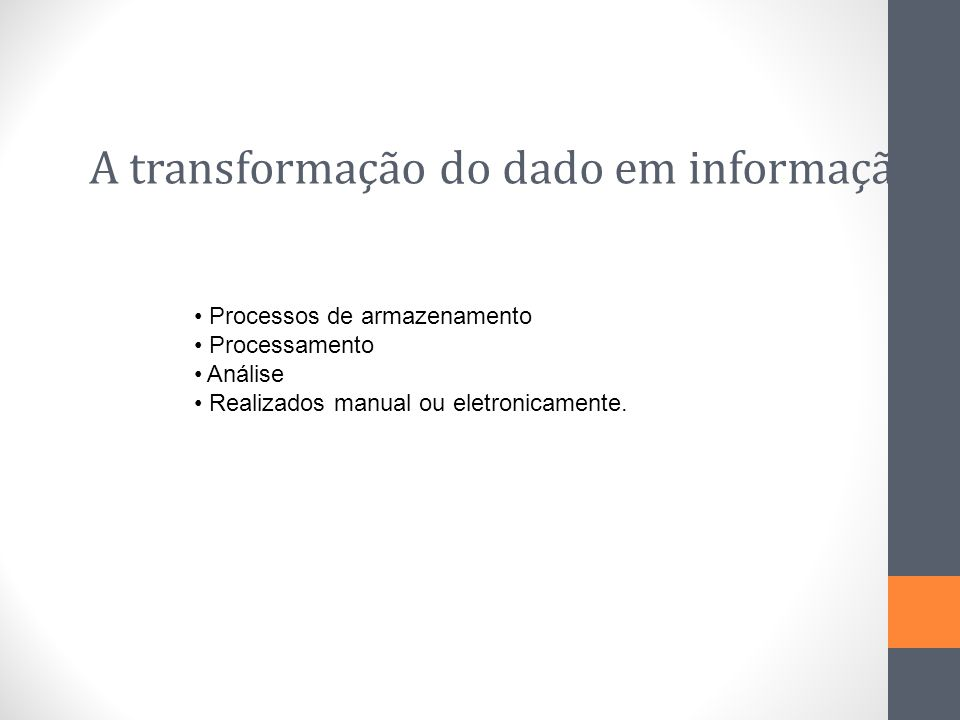 A transformação do dado em informação