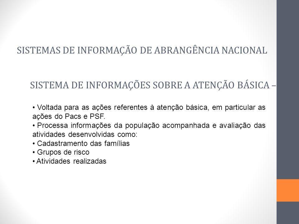 SISTEMAS DE INFORMAÇÃO DE ABRANGÊNCIA NACIONAL