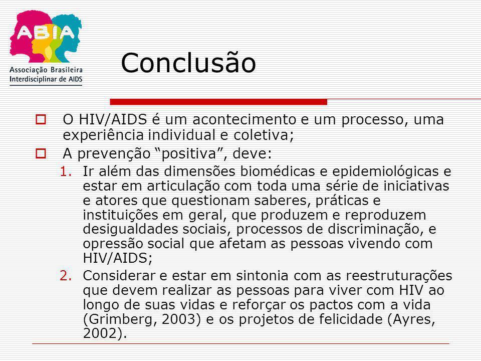 Conclusão O HIV/AIDS é um acontecimento e um processo, uma experiência individual e coletiva; A prevenção positiva , deve: