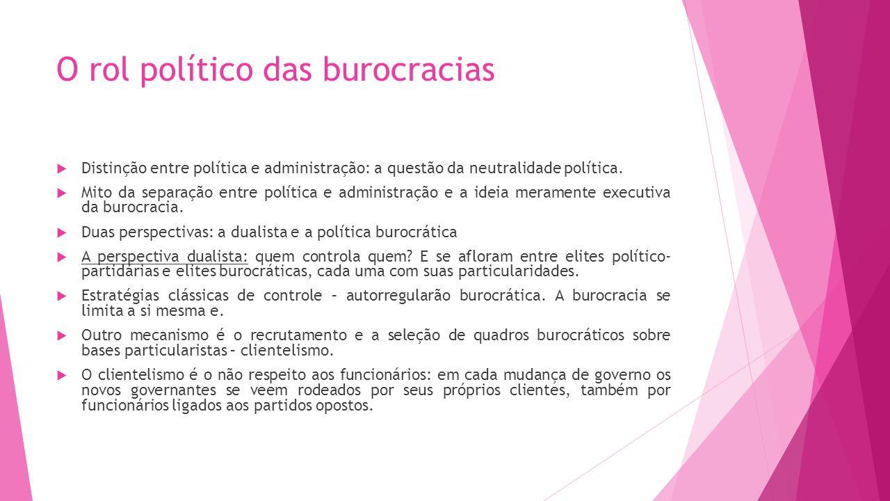 O rol político das burocracias