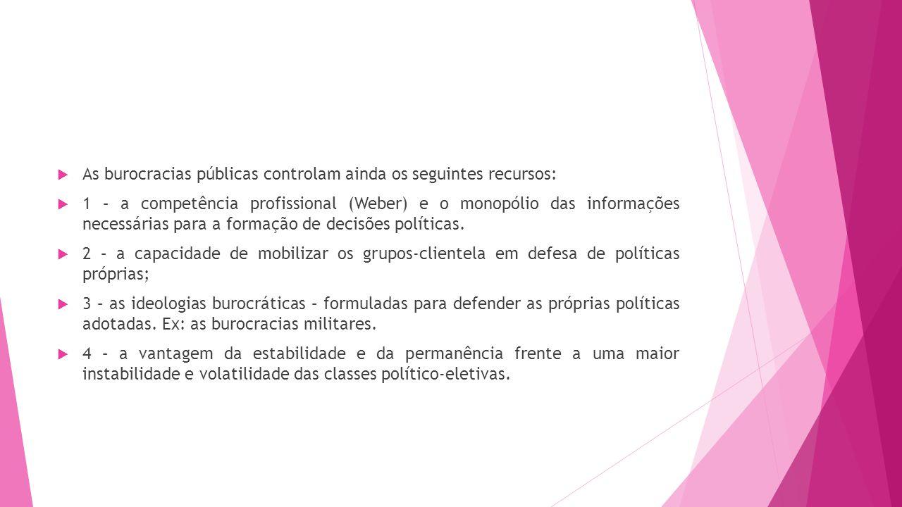 As burocracias públicas controlam ainda os seguintes recursos: