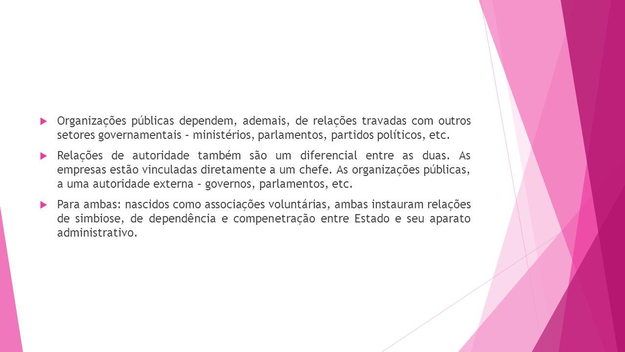 Organizações públicas dependem, ademais, de relações travadas com outros setores governamentais – ministérios, parlamentos, partidos políticos, etc.