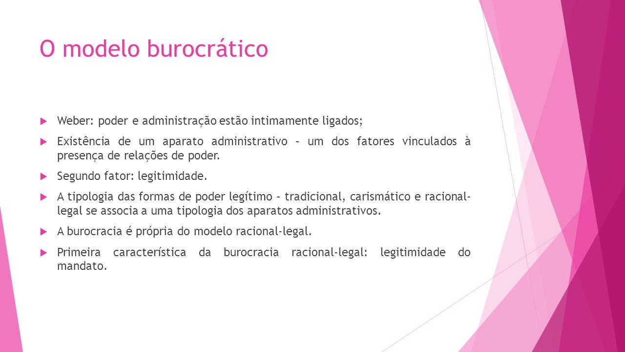 O modelo burocrático Weber: poder e administração estão intimamente ligados;