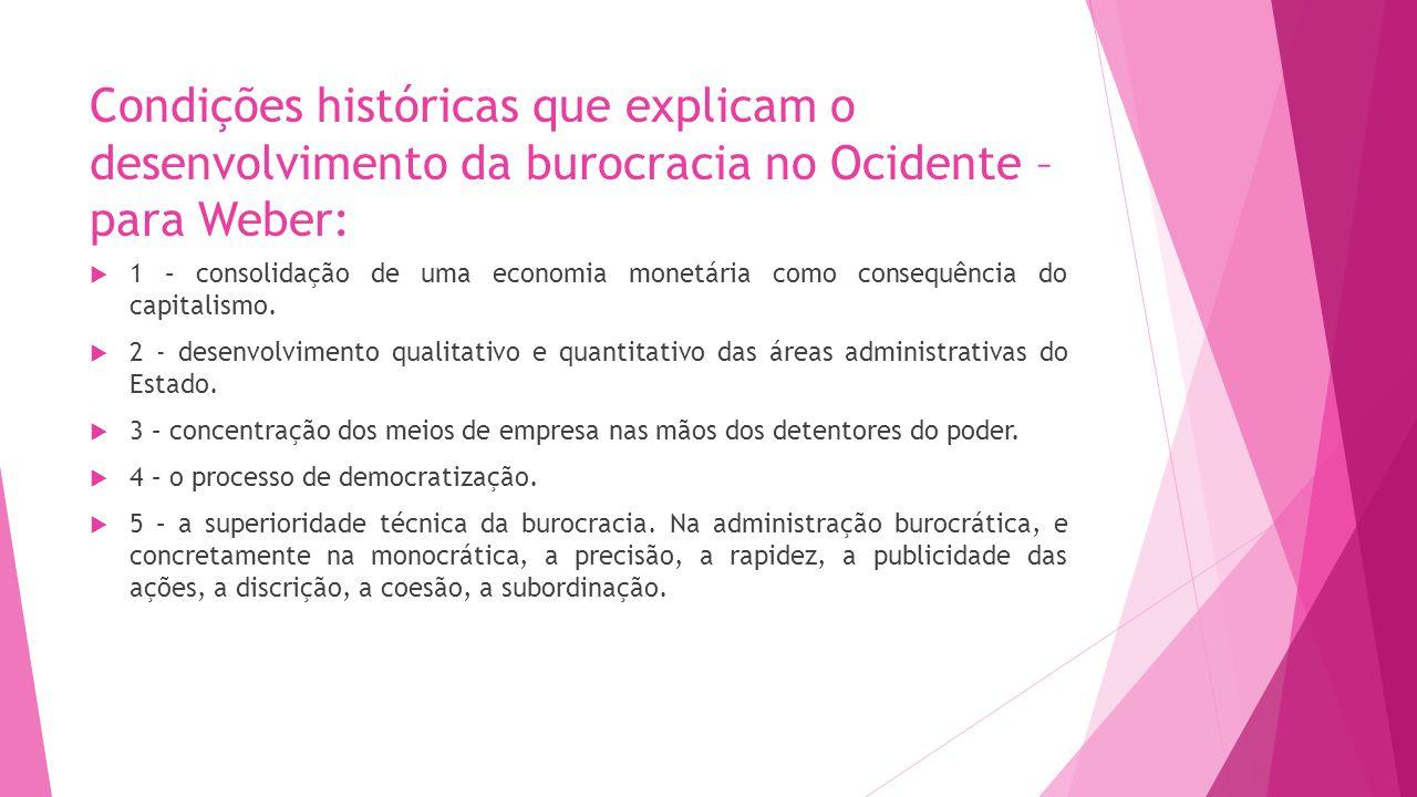 Condições históricas que explicam o desenvolvimento da burocracia no Ocidente – para Weber: