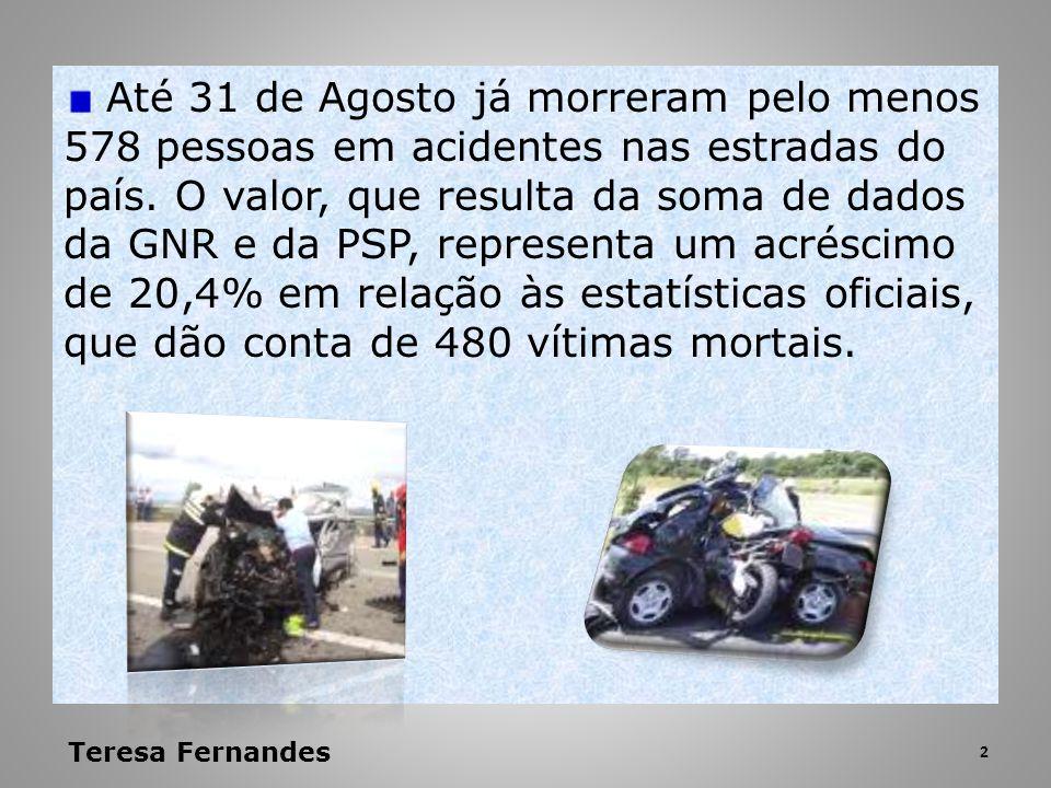 Até 31 de Agosto já morreram pelo menos 578 pessoas em acidentes nas estradas do país. O valor, que resulta da soma de dados da GNR e da PSP, representa um acréscimo de 20,4% em relação às estatísticas oficiais, que dão conta de 480 vítimas mortais.