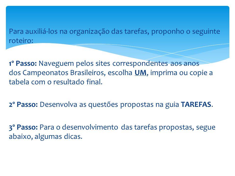 Para auxiliá-los na organização das tarefas, proponho o seguinte roteiro: 1º Passo: Naveguem pelos sites correspondentes aos anos dos Campeonatos Brasileiros, escolha UM, imprima ou copie a tabela com o resultado final.