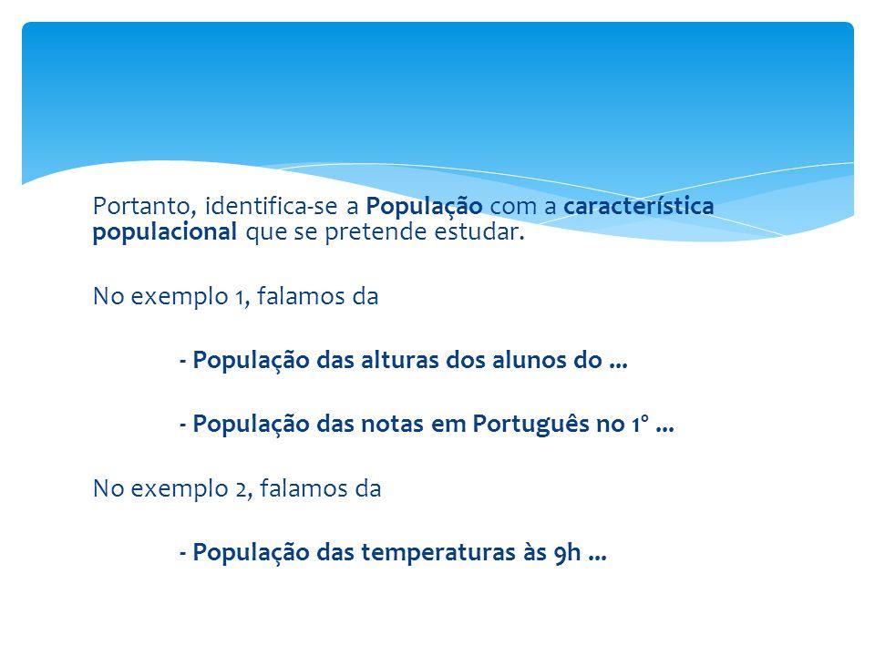 Portanto, identifica-se a População com a característica populacional que se pretende estudar.