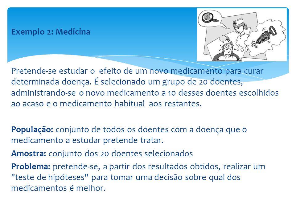 Exemplo 2: Medicina Pretende-se estudar o efeito de um novo medicamento para curar determinada doença.
