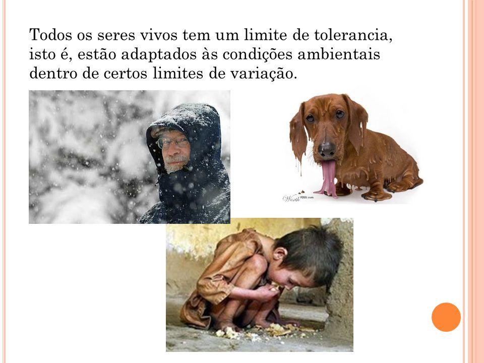 Todos os seres vivos tem um limite de tolerancia, isto é, estão adaptados às condições ambientais dentro de certos limites de variação.