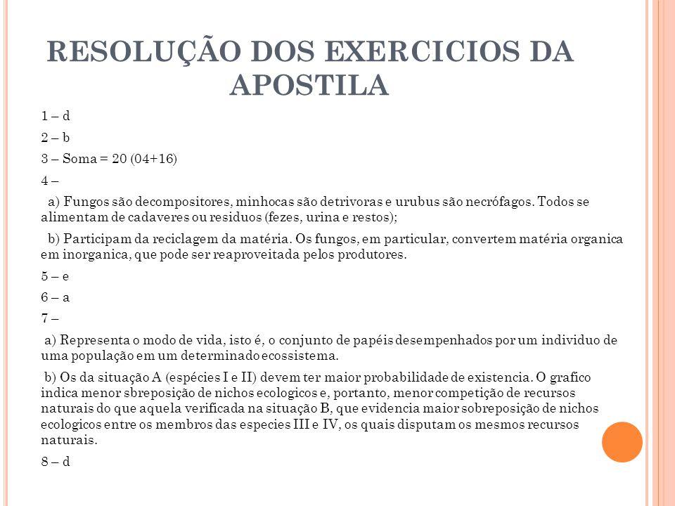 RESOLUÇÃO DOS EXERCICIOS DA APOSTILA