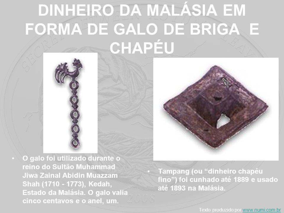 DINHEIRO DA MALÁSIA EM FORMA DE GALO DE BRIGA E CHAPÉU