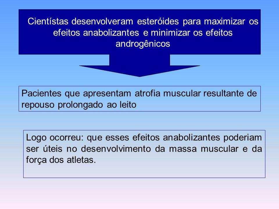 Cientístas desenvolveram esteróides para maximizar os efeitos anabolizantes e minimizar os efeitos androgênicos