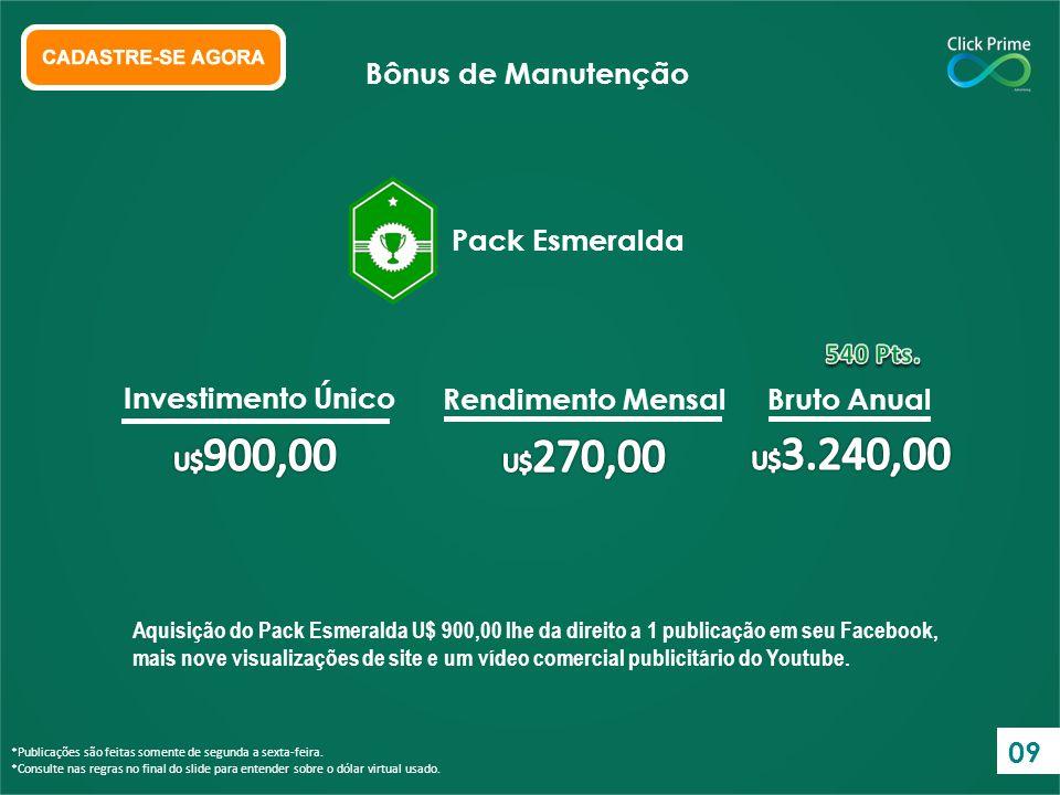 Bônus de Manutenção Pack Esmeralda Investimento Único