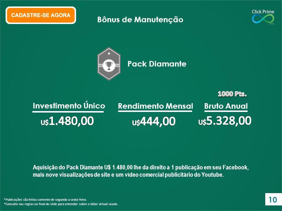Bônus de Manutenção Pack Diamante Investimento Único Rendimento Mensal
