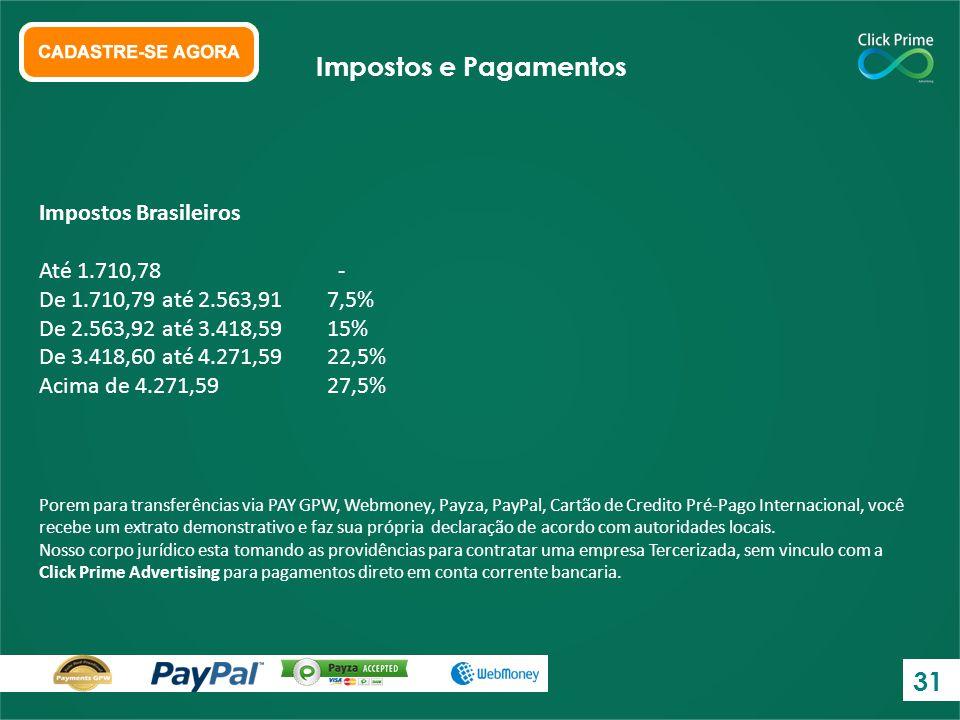 Impostos e Pagamentos 31 Impostos Brasileiros Até 1.710,78 -