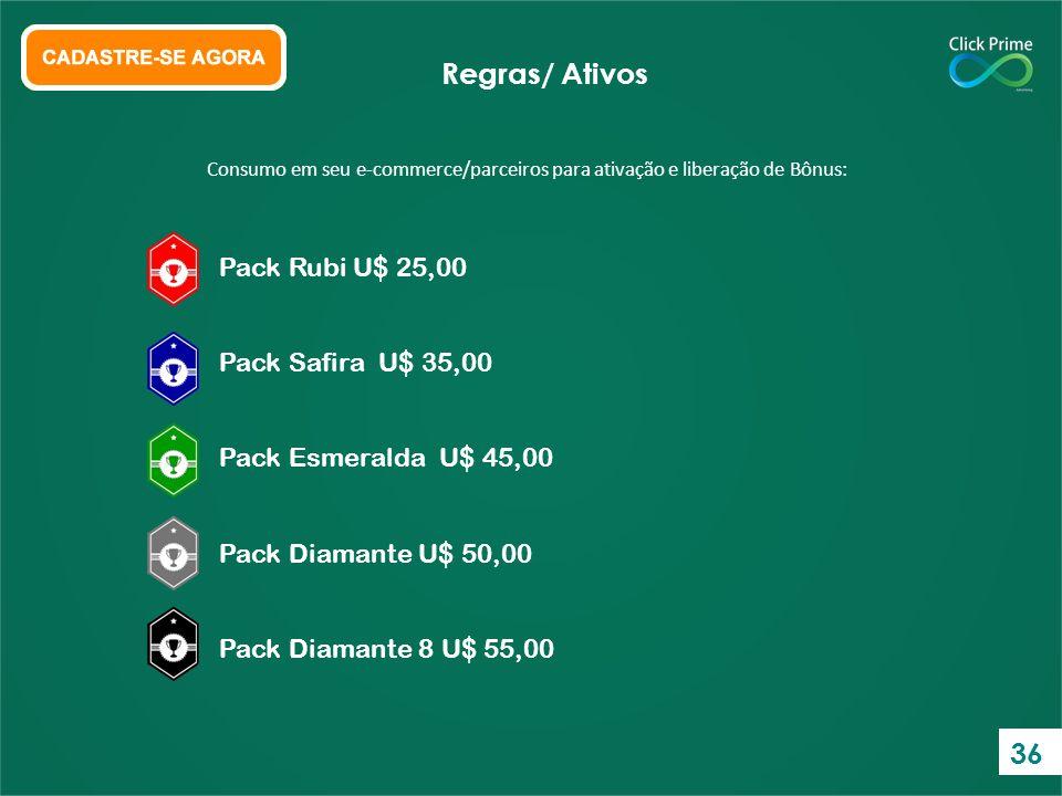 Regras/ Ativos 36 Pack Rubi U$ 25,00 Pack Safira U$ 35,00
