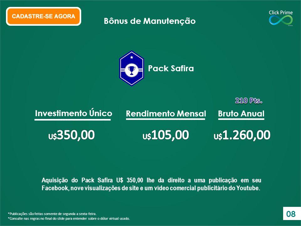 Bônus de Manutenção Pack Safira Investimento Único Rendimento Mensal