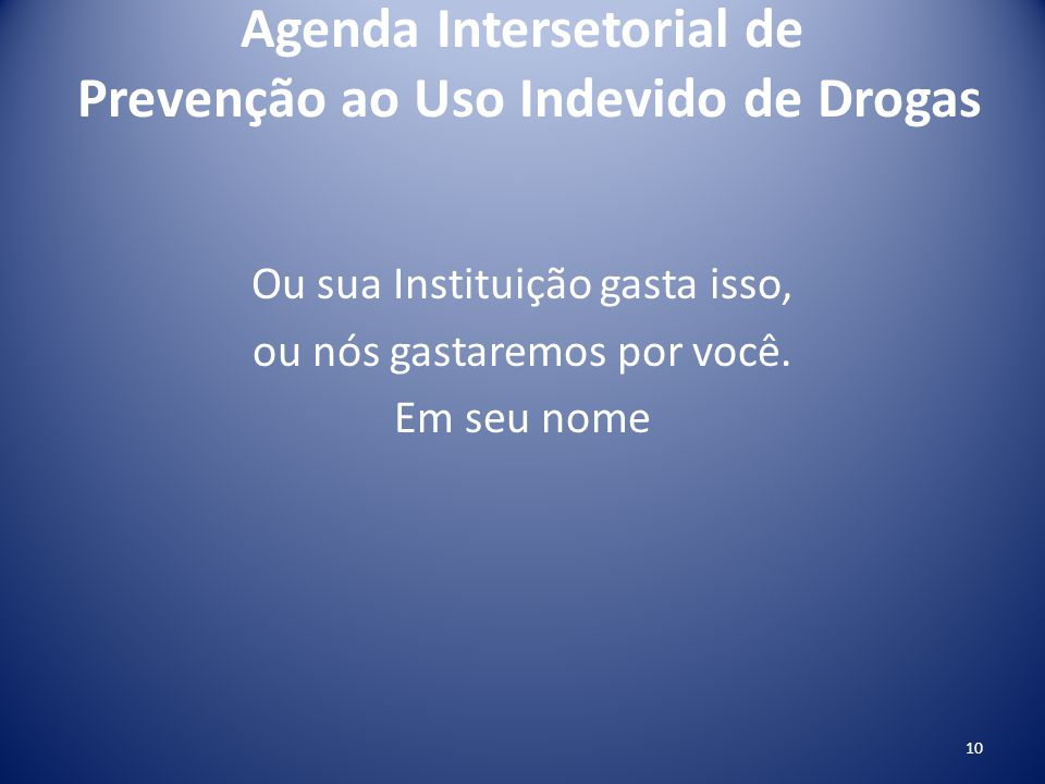 Agenda Intersetorial de Prevenção ao Uso Indevido de Drogas