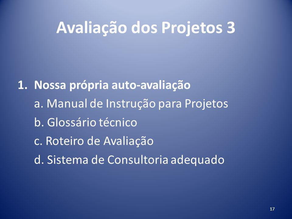 Avaliação dos Projetos 3