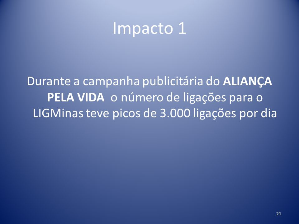 Impacto 1 Durante a campanha publicitária do ALIANÇA PELA VIDA o número de ligações para o LIGMinas teve picos de 3.000 ligações por dia.
