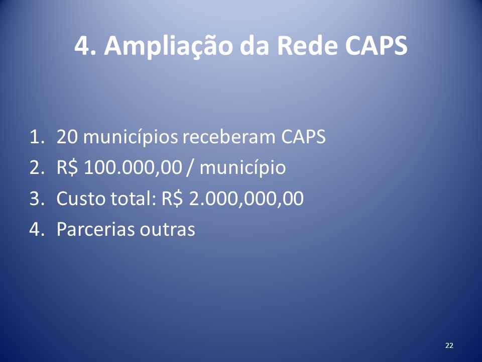 4. Ampliação da Rede CAPS 20 municípios receberam CAPS
