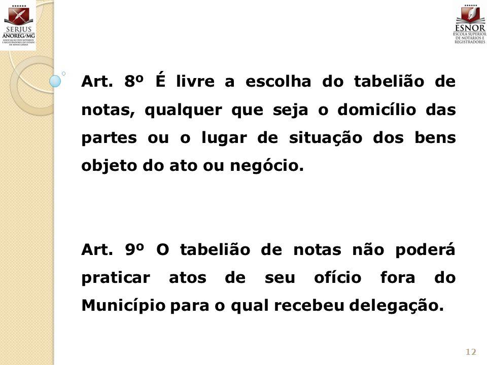 Art. 8º É livre a escolha do tabelião de notas, qualquer que seja o domicílio das partes ou o lugar de situação dos bens objeto do ato ou negócio.