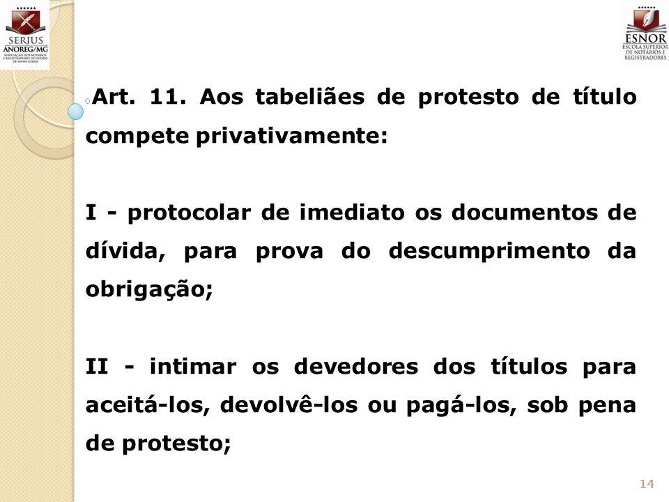 Art. 11. Aos tabeliães de protesto de título compete privativamente: