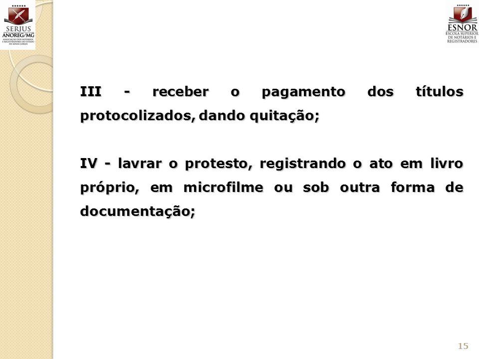 III - receber o pagamento dos títulos protocolizados, dando quitação;