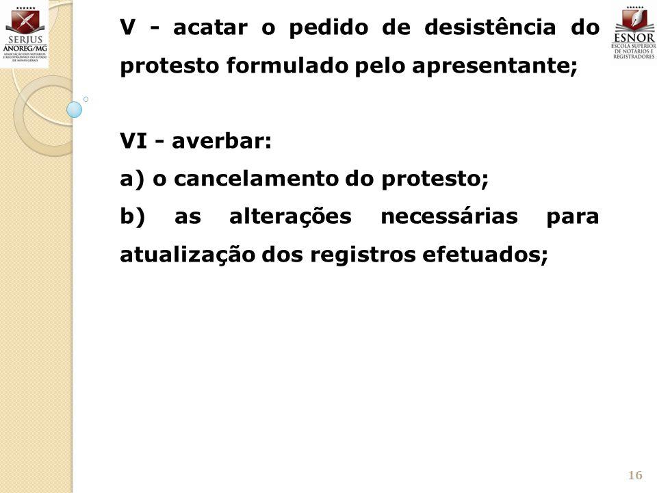 V - acatar o pedido de desistência do protesto formulado pelo apresentante;