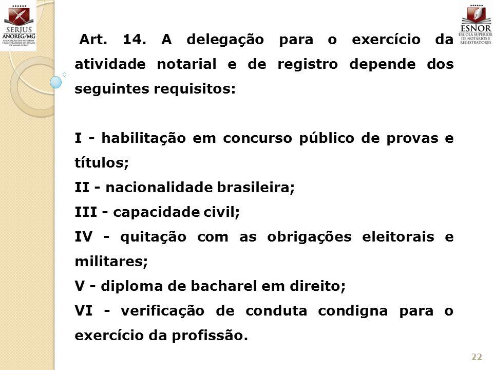Art. 14. A delegação para o exercício da atividade notarial e de registro depende dos seguintes requisitos: