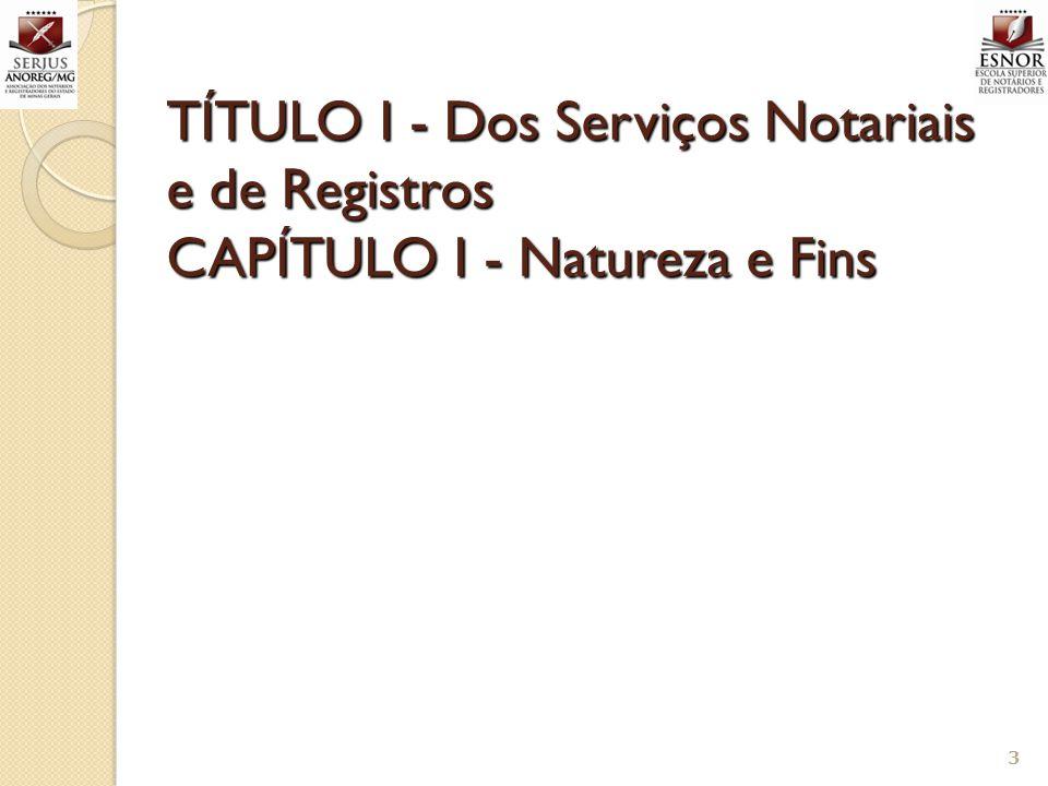 TÍTULO I - Dos Serviços Notariais e de Registros CAPÍTULO I - Natureza e Fins