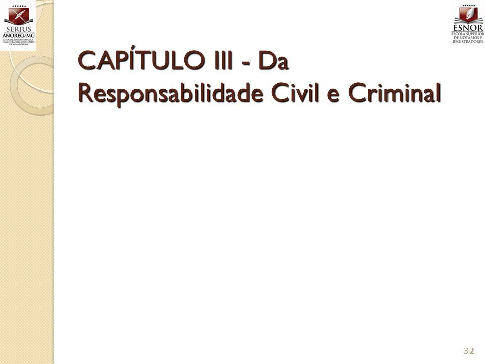 CAPÍTULO III - Da Responsabilidade Civil e Criminal