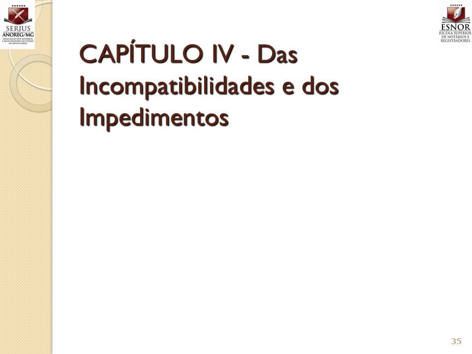 CAPÍTULO IV - Das Incompatibilidades e dos Impedimentos
