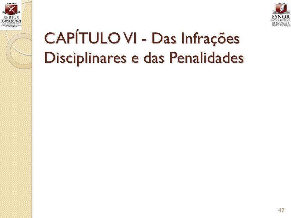 CAPÍTULO VI - Das Infrações Disciplinares e das Penalidades