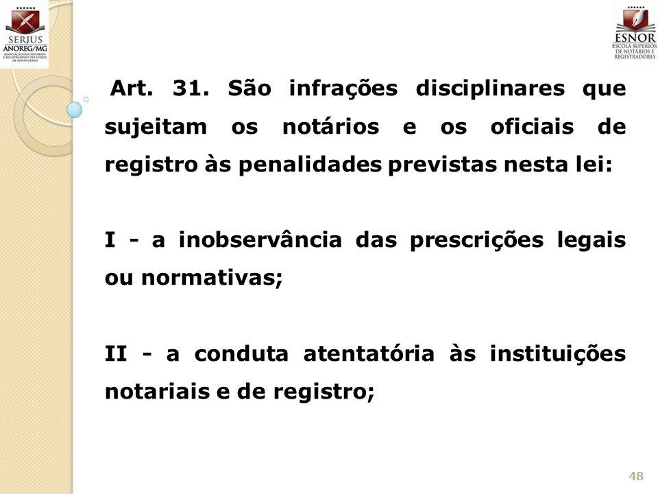 I - a inobservância das prescrições legais ou normativas;
