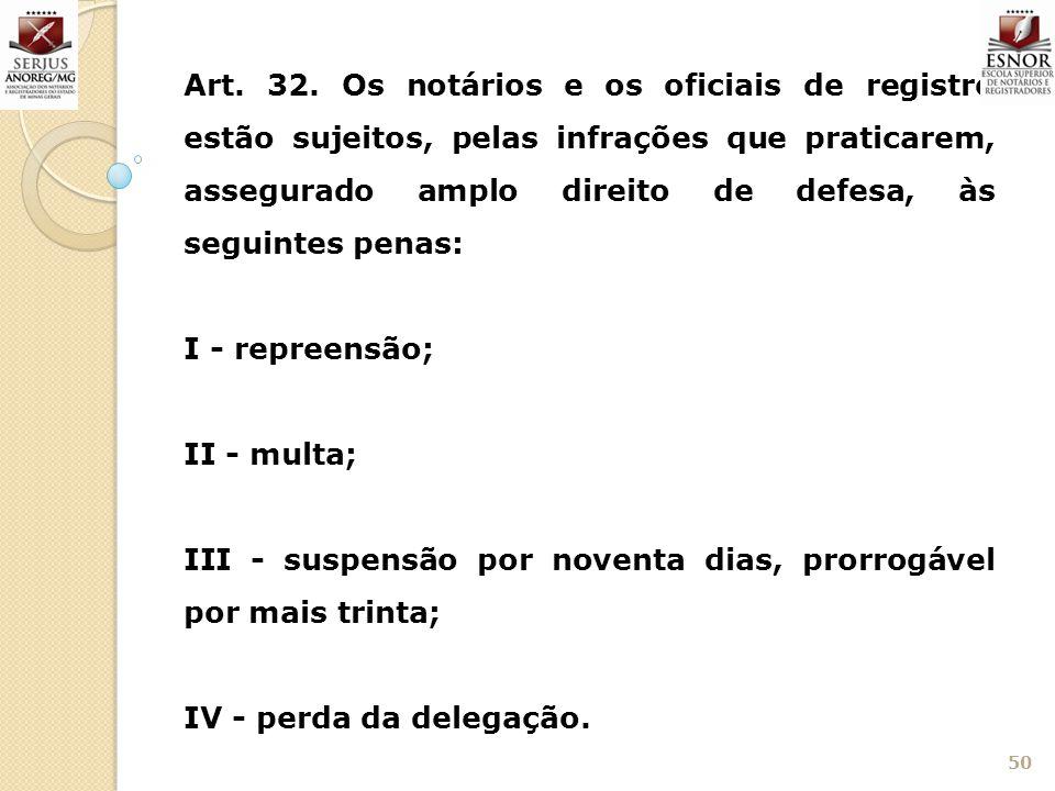 Art. 32. Os notários e os oficiais de registro estão sujeitos, pelas infrações que praticarem, assegurado amplo direito de defesa, às seguintes penas: