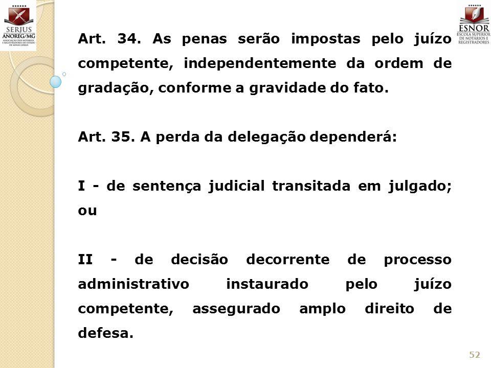 Art. 34. As penas serão impostas pelo juízo competente, independentemente da ordem de gradação, conforme a gravidade do fato.