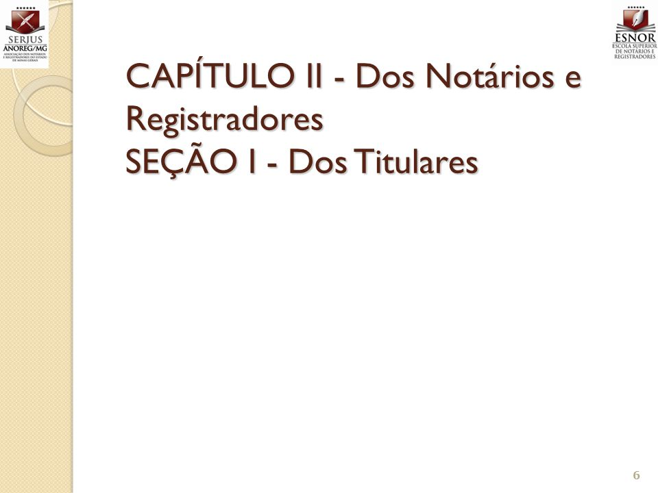CAPÍTULO II - Dos Notários e Registradores SEÇÃO I - Dos Titulares