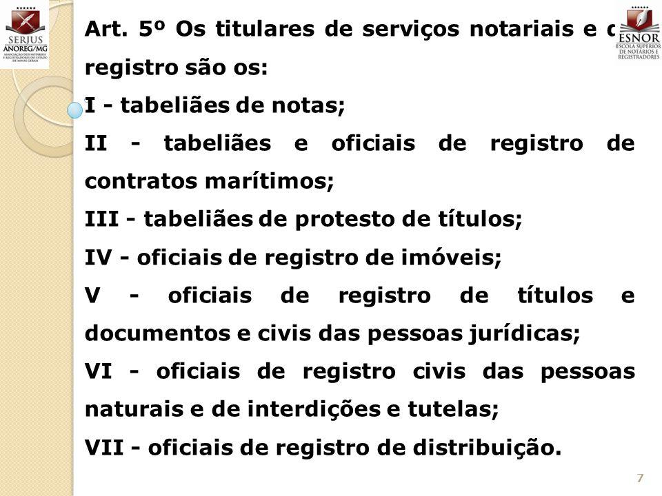 Art. 5º Os titulares de serviços notariais e de registro são os: